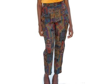 Dark olive and jewel tone southwestern print trousers 1980s 90s VINTAGE