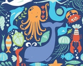 Monaluna Under the Sea, Sea Life - sold by the yard
