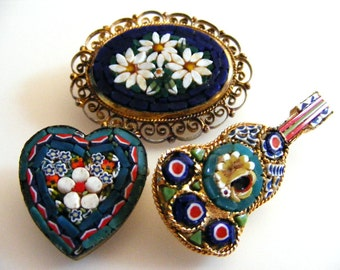 Lot of Micro Mosaic Brooches Oval Heart Mandolin Guitar Italy Inlaid Glass Millefiore Flowers