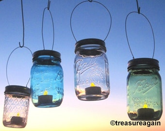 Mason Jar Lanterns Hanging Tea Light Luminaries, Lids Only