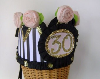 30th Birthday party Crown, 30th birthday Hat,  Adult or Child- customize with any number or banner