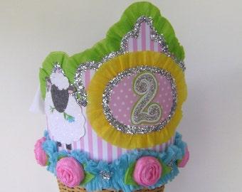 2nd Birthday party Crown, 2nd birthday party hat, farm animals birthday hat, customize