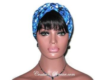 Blue Turban, Navy, Royal, Women's  Handmade Fashion, Twist, Hat, Full, Head, Hair, Turbin, String of Beads