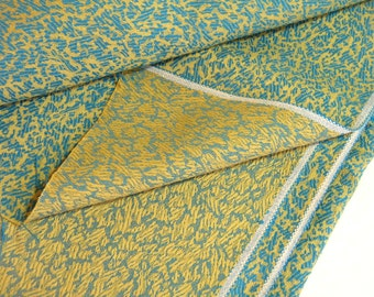 Vintage Teal And Chartreuse Woven Fabric