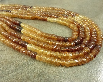 "Shaded Hessonite Garnet Gemstone Smooth Rondelles 5mm full 14"" strand"
