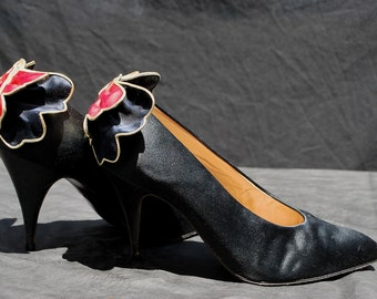 Vintage 80's MAUD FRIZON Butterfly shoes pumps 7 1/2 us 30 eu leather and silk by thekaliman