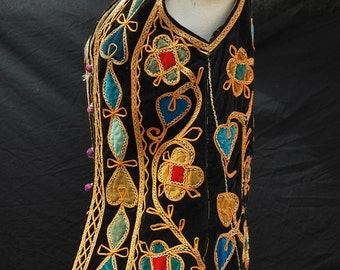 Antique vintage AFGHAN vest hippie boho ethnic patch work vest small by thehkaliman