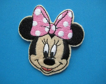 SALE~ 2 pcs Iron-on Embroidered Patch Minnie Mouse 2.25 inch