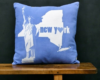 New York Accent Pillow - Decorative Cotton Denim State Pillow - New York Home Accessory