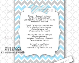 Bow Tie Thank You Poem Notes 5x7 4x6 / INSTANT Download / Boy Baby Shower  Stationery
