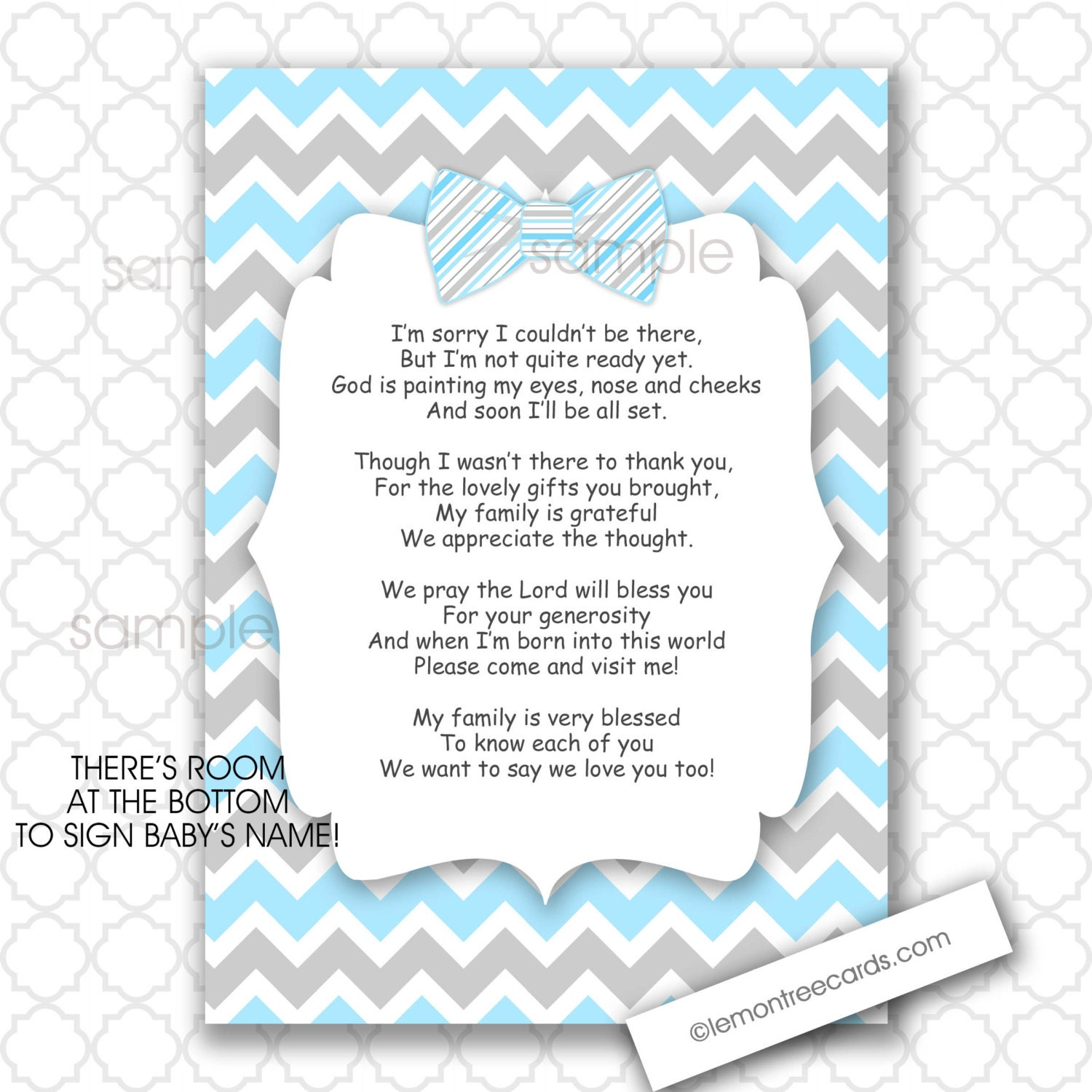 Bow Tie Thank You Poem Notes 5x7 4x6 / INSTANT download / boy