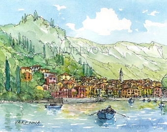 Varenna Lake Como  Italy art print from an original watercolor painting