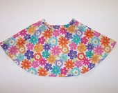Twirly skirt size 4 little girl flowers circle skirt white orange purple pink turquoise pull-pm skirt elastic waist linen look cotton