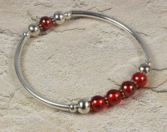 Red & Silver Stretch Bracelet - Stretch Bracelet - Red and Silver Bracelet - Red and Silver Bangle - Beaded Bracelet