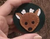 Appliquéd Suede & Leather Deer Patch
