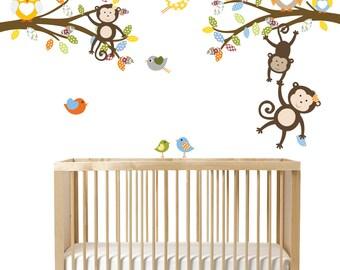 Children's Vinyl Branch Decals, Monkey Wall Art, Boys Nursery Branch Decor, Vinyl Decals, Nursery Vinyl Art, Birds and Owls Wall Decals