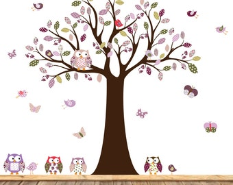 Vinyl Wall Decal Stickers Owl Tree Set Nursery Girls Baby Extra birds and owls