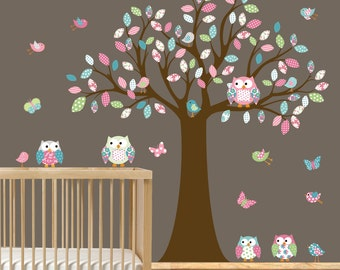 Custom Listing Children owl tree wall decal  nursery tree decal owls birds butterflies colorful patterned leaves