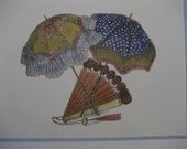 pretty pair of hand colored vintage prints of parasols and fans