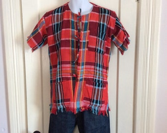Vintage Plaid Mens Woven Mexico Shirt looks size Large Red Black