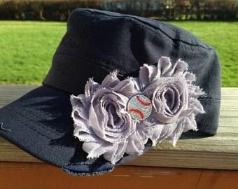 New York Yankees Baseball Navy Blue Distressed Military Cadet Hat with Gray Flowers and Rhinestone Baseball - Ladies Womens Hat
