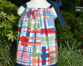 Summer Pillowcase Dress - madras dress little girls beach dress plaid little girls dress baby summer outfit toddler dress