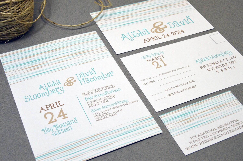 Etsy Beach Wedding Invitations: Rustic Beach Wedding Invitations Striped Invite Set Teal And