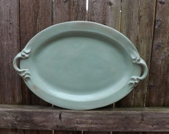 Ready to Ship: Ceramic Serving Platter, Stoneware Platter with Handles in Pistachio Green