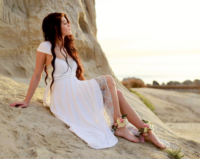 Something Blue ~ Tulip Style Octopus Wrap Dress with Peek-a-Boo Lace Slip and Train- Bridgewater White with Ice Blue Lace