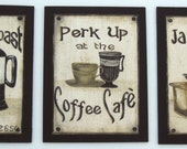 Vintage Coffee Signs Wall Plaques Primitive Rustic Java Espresso Latte Set of 3