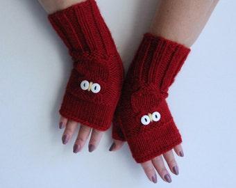 Soft OWL  HAND WARMERS Warm Gloves Comfy Cozy Arm Warmers Wrist Warmers