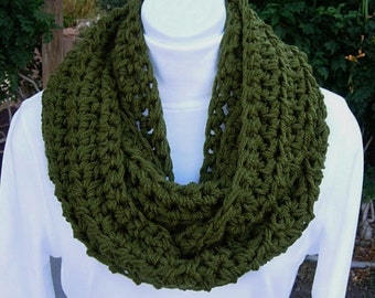 INFINITY SCARF Loop Cowl Dark Solid Olive Military Green Soft Thick Acrylic Crochet Knit Warm Winter Endless Circle, Ready to Ship in 3 Days
