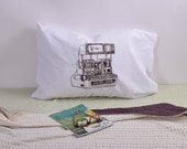 Screen Printed Pillow Cases - Set of 2 Standard Sized Pillow Covers - Eco Friendly Bedding - Polaroid Camera - Handmade - Cotton Bedding
