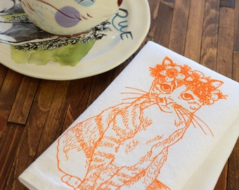 Cloth Napkins - Screen Printed Cloth Napkins - Eco Friendly Dinner Napkins - Cat - Kitty - Floral - Handmade Cotton Cloth Napkins - Table