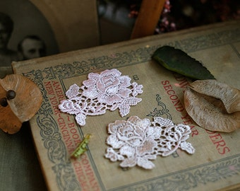 2 pairs of silk rose lace flower