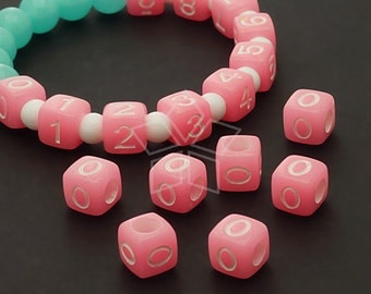 LR-063-PK / 10 Pcs - Numeric Luminous Beads, Phone Number Bead, Anniversary Date, Number Zero, 0, PINK Square / 7mm