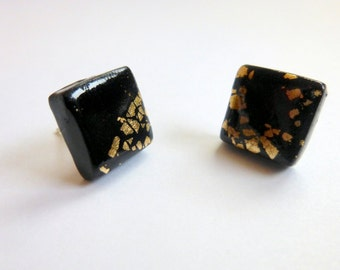 Black Stud Earrings Black Post Earrings Hand Made