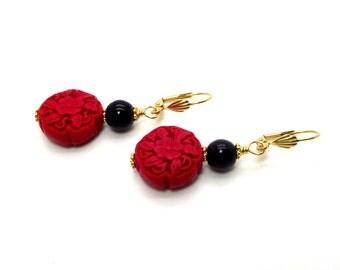 Red and Black Earrings - Red Cinnabar Earrings