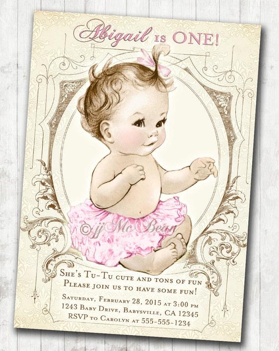 1st birthday invitation for girl shabby chic birthday antique il570xn filmwisefo