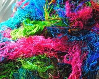 Sari Silk Fibre Waste Blending Fibers Crafting Fibers Multi Color Grab Bag