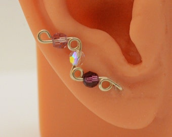 Sterling Ear Climbers Ear Cuffs Sweeps Vines Three Birthstone Choices Pair Of Handmade