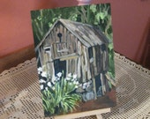 Little Old Barn Original Painting,small acrylic painting on board,5x7,wall decor,room decor