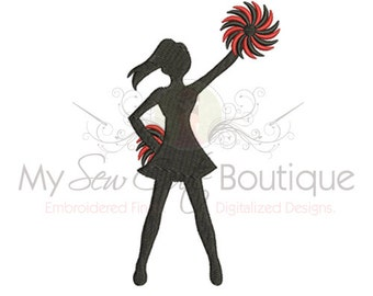 Cheerleader Embroidery Design - 12 Sizes