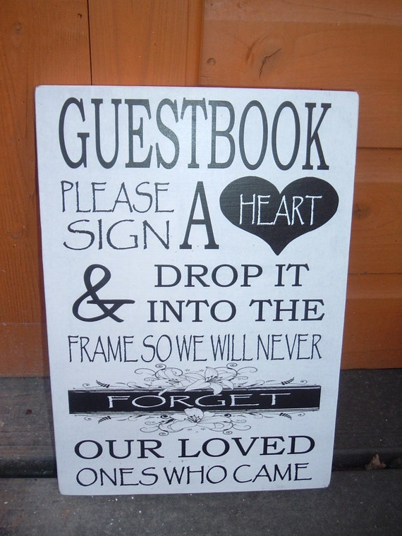 Items Similar To Shabby Chic Guest Book Please Sign A Heart Plaque Sign Vintage Wedding Table