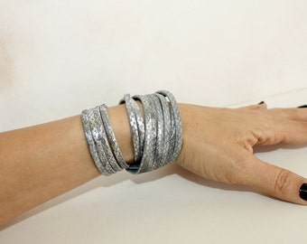 Gray Silver Python Print Genuine Leather Cuff, Snakeskin  Double Wrap Bracelet