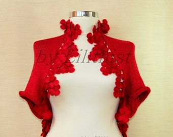 Red Knit Shrug, Flower Shrug, Crochet Shrug, Cape, Bolero Jacket, Wedding Shrug, Ivory Bridal Shrug Knit Bolero, Sleeveless Cardigan / S M L
