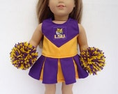 Louisiana State University LSU Cheerleader for American Girl Doll, shoes, pompoms