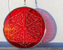 Red Orange Celtic Knot Suncatcher