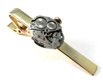 Steampunk Tie Clip - Tie Bar - Retro Vintage Watch - Mechanical Watch Movement Steampunk Tie Clip - Brass