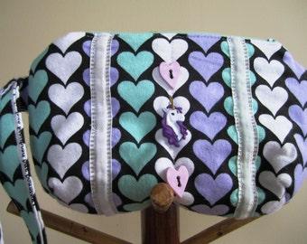 Wrist Purse Unicorn Hearts 80s Flannel Zipper Wristlet Black Aqua Eighties Bag Valentine's Day - Size Small